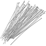 Beadaholique 50-Piece Head Pins, 24-Gauge, Silver Plated