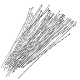 Beadaholique 50-Piece Head Pins, 2-Inch, Silver Plated