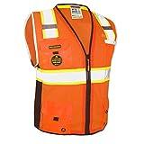 KwikSafety (Charlotte, NC) BIG KAHUNA (11 Pockets) Class 2 ANSI High Visibility Reflective Safety Vest Heavy Duty Mesh with Zipper and HiVis for OSHA Construction Work HiViz Men Orange Black Large