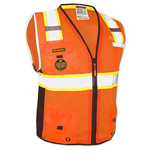 KwikSafety (Charlotte, NC) BIG KAHUNA (11 Pockets) Class 2 ANSI High Visibility Reflective Safety Vest Heavy Duty Mesh with Zipper and HiVis for OSHA Construction Work HiViz Men Orange Black Small