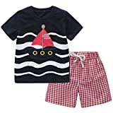 Fiream Baby Boys Cotton Sets Shortsleeve Summer Clothing Sailing Boat t-Shirts and Shorts 2 Pieces Sets(18005,2-3YRS)