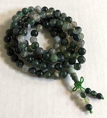 Heart Chakra Green Moss Agate mala necklace 8mm meditation Mala beads 108 prayer beads | Unconditional love Abundance Forgiveness Trust Compassion Child birth, w/velvet or 100% Jute pouch | US seller