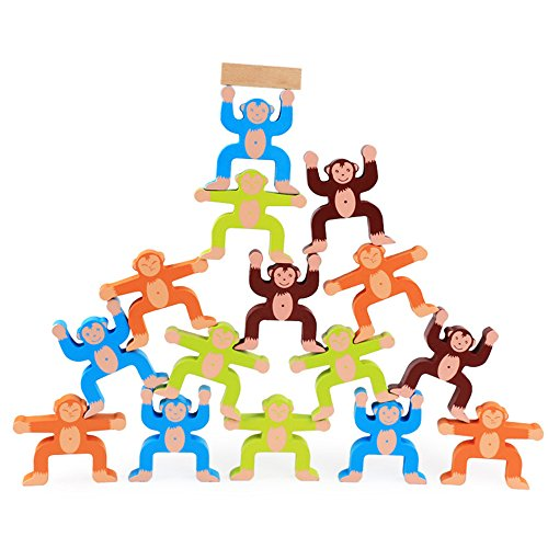 LOHOME Monkey Balancing Blocks Toys - 16 Pieces Wooden Wonders Building Balance Games Educational Stacking Block Toys for Kids Children Boy Girl Adults