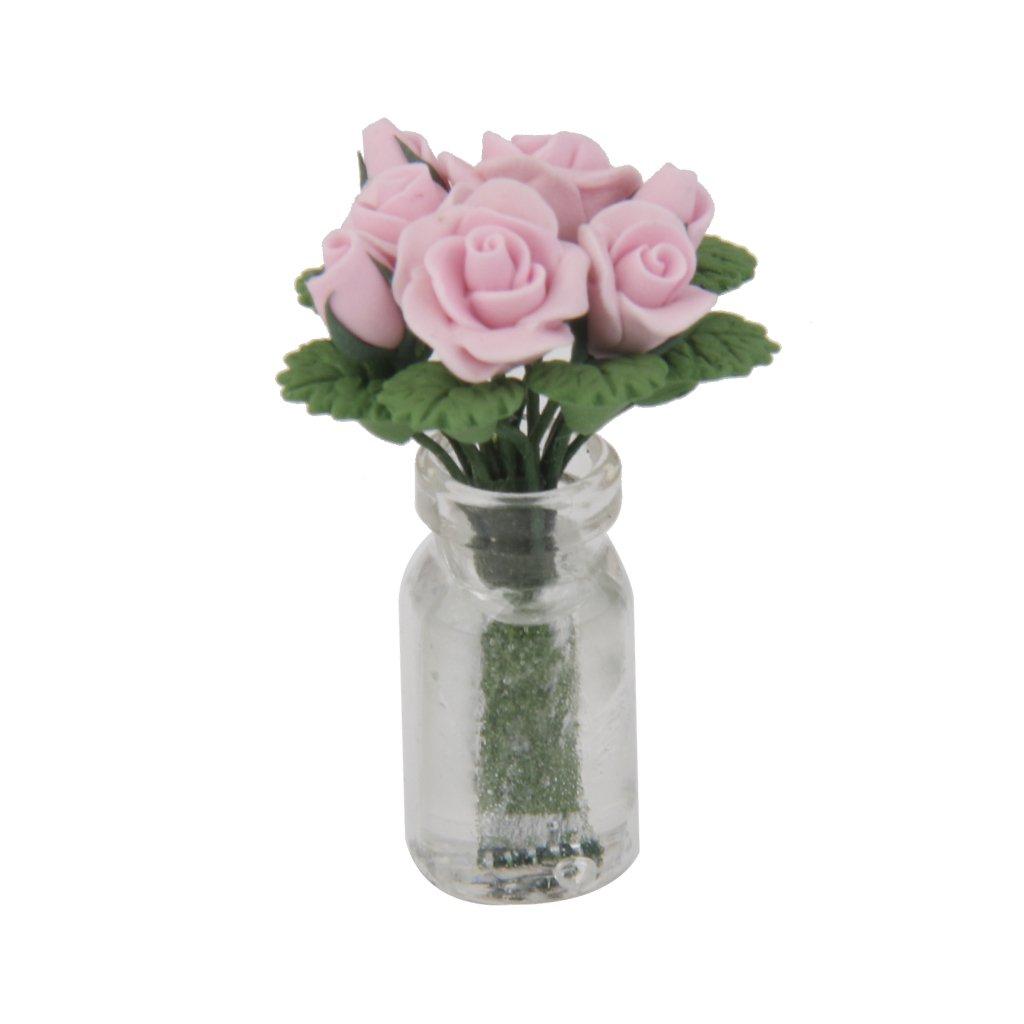 Rosas Rosadas En Un Jarr/ón De Vidrio Florero Flor De Hadas Jard/ín F Fityle Casa De Mu/ñecas En Miniatura