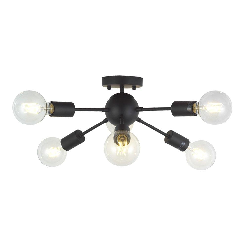 6 Lights Modern Sputnik Chandelier Lighting Italian Designed Pendant Lighting Mid-Century Ceiling Light Fixture Brushed Nickel By TUDOLIGHT