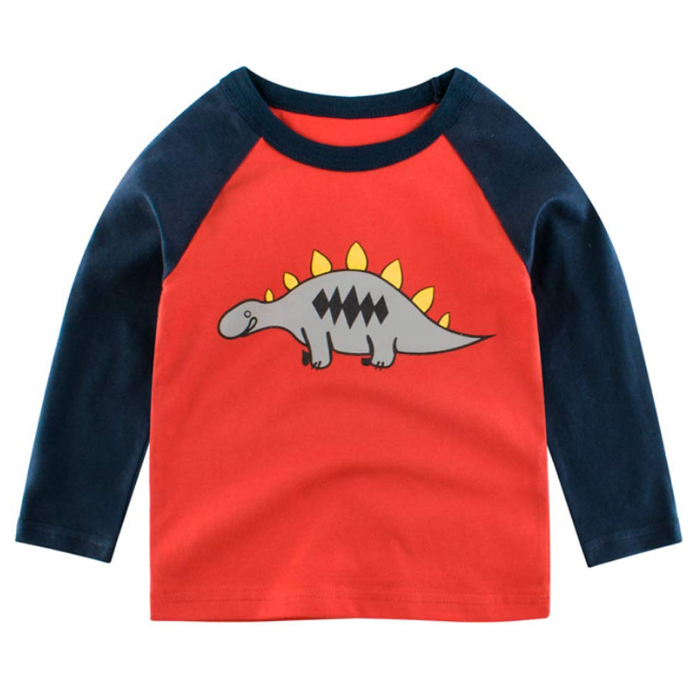 Baby Boys Long Sleeve T-Shirt Kids Cotton Cartoon Sweatshirts Tops Autumn Winter Warm Shirts Sleepwear Baby Girls Clothing for 2-10 Years Old
