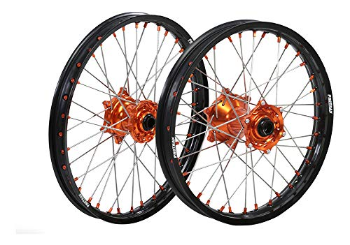 "ProTrax Complete Wheel Rim Set Orange Hub Front&Rear 21""&18"" KTM 250SXS 300EXC"