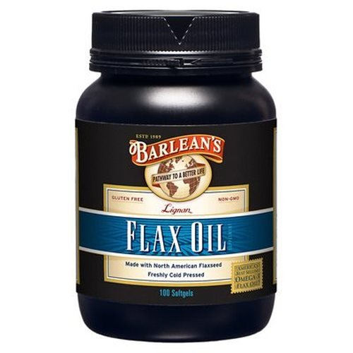 Barlean's Lignan Flax Oil Softgels, 100 Count Bottle Flax Oil 100 Softgels