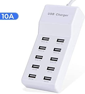 USB Wall Charger 10-Port USB Charger Station with Rapid Charging Auto Detect Technology Safety Guaranteed Family-Sized Smart USB Ports for Multiple Devices Smart Phone Tablet Laptop Computer
