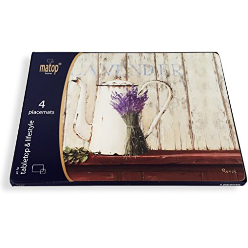 """The High Quality Lavender de Provence Bundle of Blooms, French Country Style Watercolor, Artistic Home Placemats, Laminated Cork-backed, Rustic Colors, Set of 4, 16 x 11 ¼"""" By Whole House Worlds"""