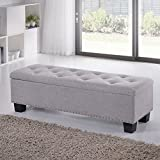 Baxton Studio Alekto Modern and Contemporary Grayish Beige Fabric Upholstered Button-Tufting Storage Ottoman Bench