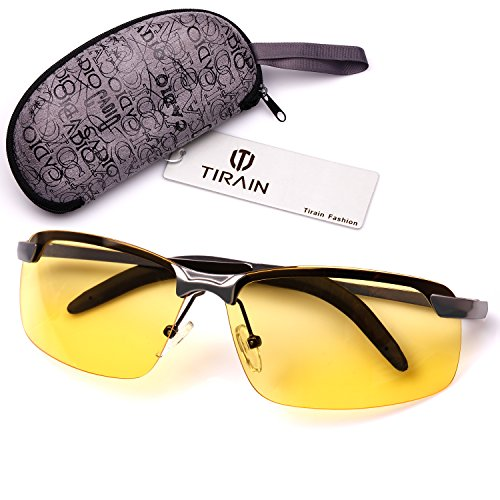 Tirain Men Polarized Anti Glare Day and Night Vision Driving Glasses Yellow Lens with Case (Gray Frame)