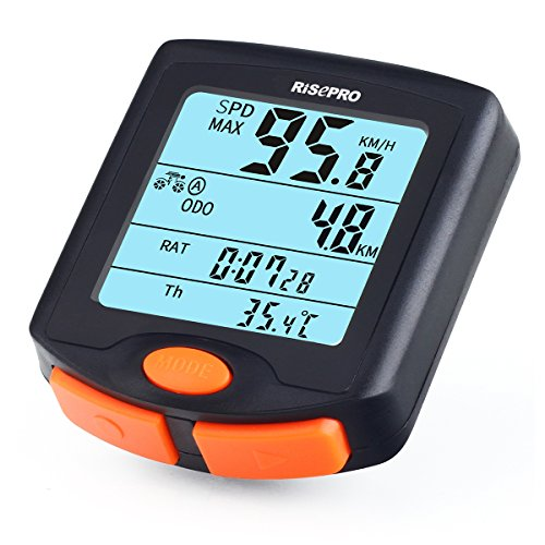 RISEPRO Bike Computer, Wireless Bicycle Speedometer Bike Odometer Cycling Multi Function Waterproof 4 Line Display with Backlight YT-813 by RISEPRO (Image #1)