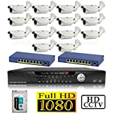 USG 1080P HD IP CCTV Kit: 1x 16 Channel NVR + 14x 1080P 2.8-12mm PoE IP Bullet Cameras + 2x 8 Port PoE Switch + 1x 4TB HDD *** High Definition CCTV Video Surveillance
