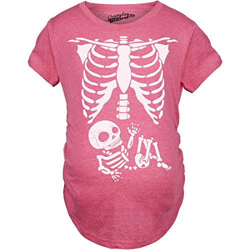 Maternity Skeleton Baby T Shirt Halloween Costume Funny Pregnancy Tee for Mothers (Pink) - S -