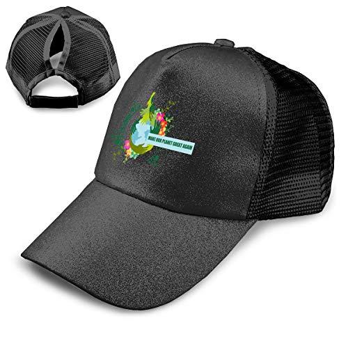OVLSDD Shiny Ponytail Hat Make Our Planet Great Again Stop Global Warming Hats Men Women Visor Mesh ()