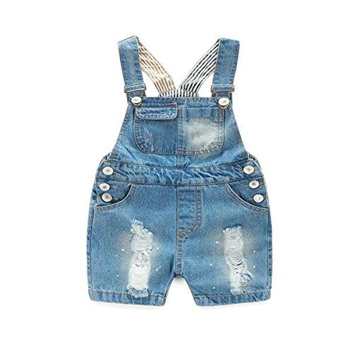 Junliyuan Baby Boys Girls Cotton Denim Short Overalls Summer Casual Button Jeans Jumpsuit (18-24 - Overalls Girl Boy