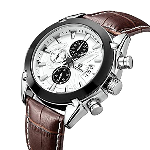 TOPMARGO Mens Brown Leather Watch Waterproof Chronograph White Dial Dress Watches For Men (White) - Chronograph White Dial