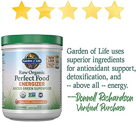 Garden of Life Raw Organic Perfect Food Energizer Juiced Green Superfood Greens Powder - Yerba Mate, Pomegranate, 30 Servings (Packaging May Vary) - Vegan Gluten Free Whole Food Dietary Supplement