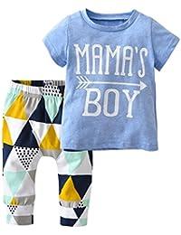 Baby Boys Summer Mama's Boy Short Sleeve T-Shirt Tops Geometric Pants Clothes Set (60(0-6 Months))