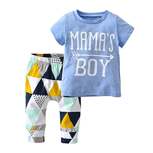 Derouetkia Baby Boys Summer Mama's Boy Short Sleeve T-Shirt Tops Geometric Pants Clothes Set (100(18-24 Months)) Blue