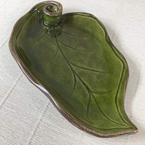 JANECKA Dark Green Leaf Tray, 9 x 5.5 x 1 Inch, Pottery 9th Anniversary Gift