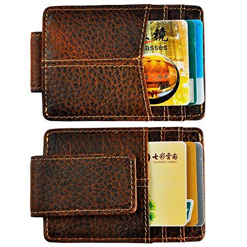 Le'aokuu Mens RFID Genuine Leather Cowhide Money Clip Credit Card Case Handy Slim Wallet Magnet (A Rfid Rust) (Luggage Money Clip)