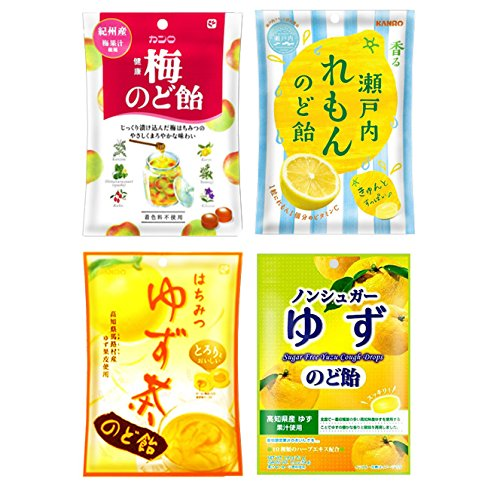 Japanese Kanro Cough Drops Assortment Set (Ume Plum, Lemon, Honey Yuzu, Yuzu & Ginger: each 1, total 4 packs), Ninjapo (Ginger Honey Cough)