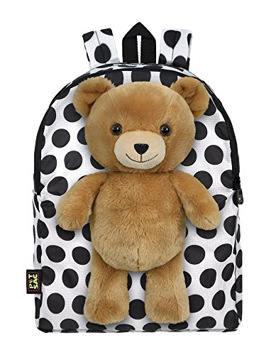 Treasures Teddy Bear - Plush Stuffed Teddy Bear Toy Doll with Pull Out Backpack, White, One Size