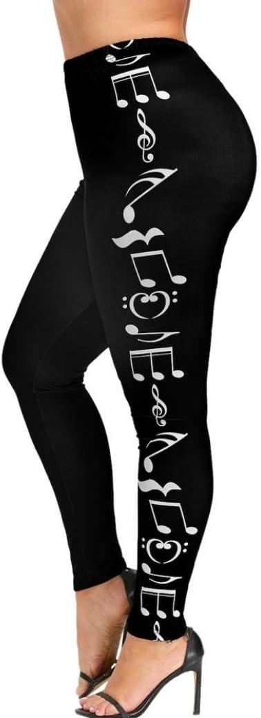Pantalones Cortos LILICAT/® Mallas Deportivas El/ásticas y Transpirables para Mujer XL ~ 4XL Tallas Grandes Notas Musicales Leggings Fitness Yoga Cintura Alta Deportes