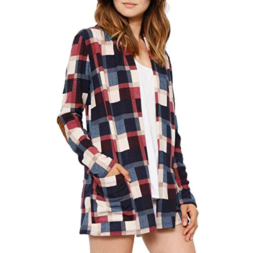 - Cardigans for Women, FORUU Ladies Plaid Printing Jacket Long Sleeve Coat Outwear (L, Navy)