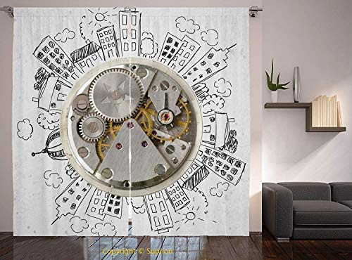 Clock Raiders Oakland Neon - Living Room Bedroom Window Drapes/Rod Pocket Curtain Panel Satin Curtains/2 Curtain Panels/108 x 108 Inch/Clock Decor,An Alarm Clock with Clouds and Buildings Around It Pattern Decorative Design,Light