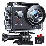 Victure AC400 Action Cam WI-Fi Full HD 1080P wasserdichte Sport Action Kamera 30M Unterwasserkamera mit 2 Zoll LCD…