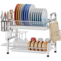 Dish Drying Rack-Premium Stainless 304 Steel-Utensil Holder Cutting Board Holder-Rustproof Dish Drainer with Removable…