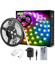 LE 5M RGB LED-remsor, 5050 SMD LED-remsor, 12 V, självhäftande LED-remsor, flexibel LED-tejp, LED-ljusband IP20, nätdel och styrenhet ingår