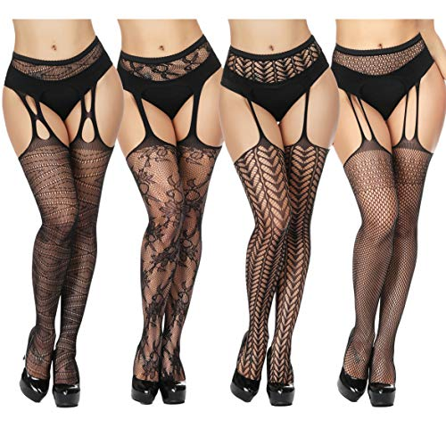 TGD Women's Fishnet Stockings Tights Sexy Suspender Pantyhose Thigh High Stocking Black 4 ()