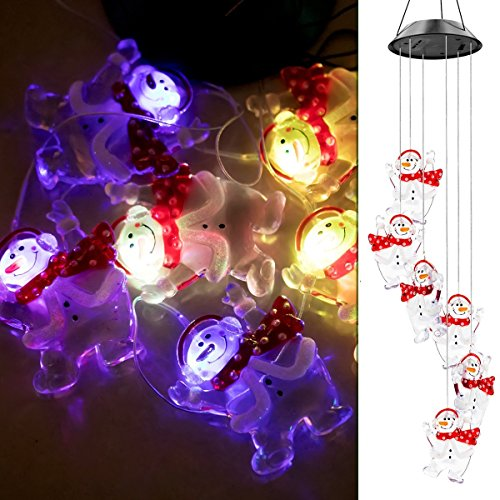 ZWY Color-Changing LED Solar Mobile Wind Chime, LED Changing Light Color Waterproof Six Santa Claus Wind Chimes for Home/ Party/ Night Garden Decoration (Santa Claus Colors)