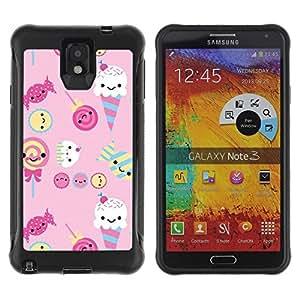 Suave Caso Carcasa de Caucho Funda para Samsung Note 3 ice cream candy pink sweets lollipop / JUSTGO PHONE PROTECTOR