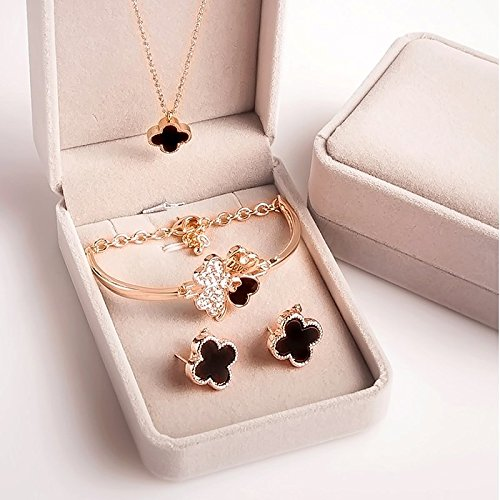 Generic Do_not_fade_ Korean 18k rose gold _plated_ bracelet hollow _four-leaf_clover_ necklace pendant earrings _three-piece_fitted_to_send_a_ girl friend