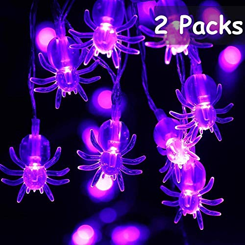 Joomer 2 Pack Spider Halloween String Lights, 10.5Ft 30 LED Battery Operated Halloween Lights, 2 Modes Flash/Steady On Purple Spider Lights for Halloween Decorations (Purple) (Led Lights Web Battery)