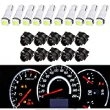 #5: YITAMOTOR 10 Pack White T5 Wedge 73 74 led 5050 1-SMD Instrument Panel Gauge Cluster Dashboard LED Light Bulbs & 10 Twist Lock Socket