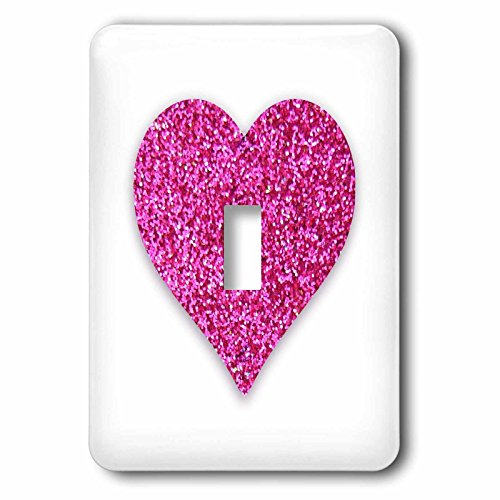 3dRose lsp_184878_1 Hot Pink Heart Made From a Glitter Photo Graphic Not Actual Glitter Light Switch Cover - Heart Desk Clock