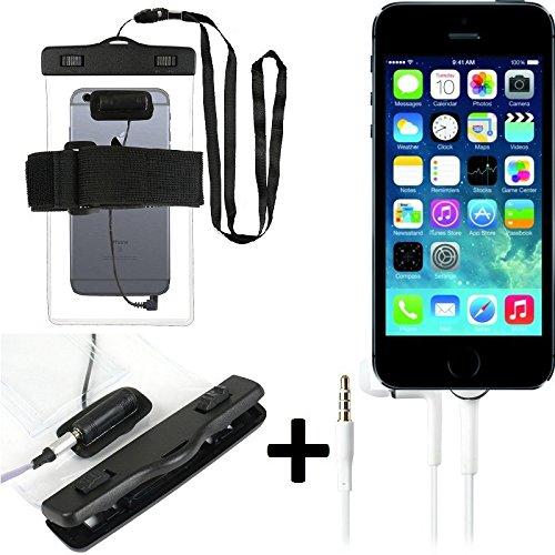 Boîtier étanche avec entrée d'écouteurs pour Apple iPhone 5s + casque inclus, transparent | Jogging Armband Case Téléphone sac de plage sous-marine - K-S-Trade (TM)