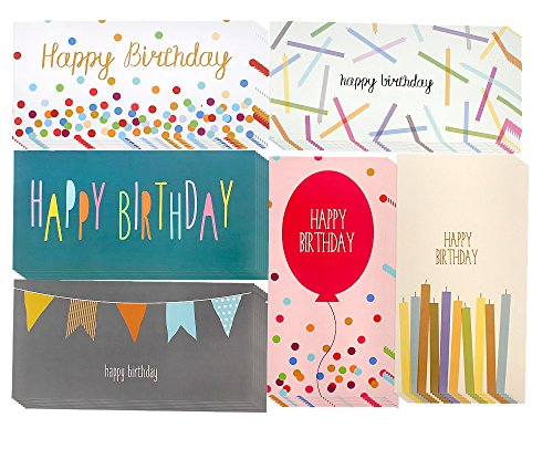 36 Money Card Holders - Assorted Birthday Designs, Balloons, Candles, Confetti, Happy Birthday, Envelopes Included - 3.5 x 7.25 Inches