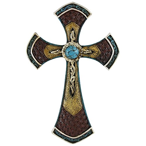 Pine Ridge Western Wall Cross with Embellished Leather Look and Turquoise Accents - Unique Orthodox and Ancient Styling - Beautifully Hand-painted and Crafted Great For God-Fearing Man and Woman (Angel Earring Display)