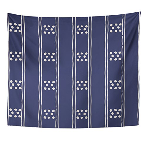 (Emvency Tapestry Abstract in Dark Blue and White Tribal Pattern Simple Home Decor Wall Hanging for Living Room Bedroom Dorm 50x60 inches)