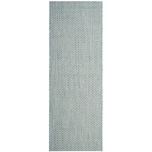 Safavieh Courtyard Collection CY8653-37121 Light Blue and Light Grey Indoor/ Outdoor Runner (2'3