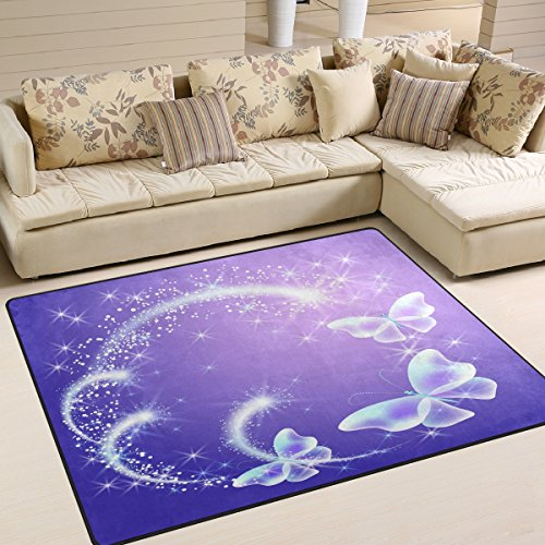ALAZA Purple Butterfly with Glowing Firework and Sparkle Star Area Rug Rugs for Living Room Bedroom 7' x 5'