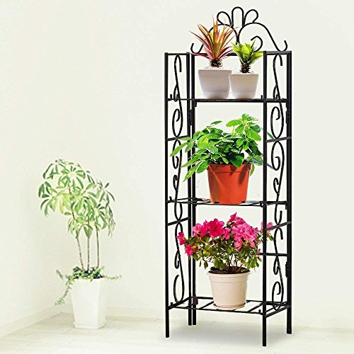 PanStarslight Black Wrought Iron Shelving Unit Metal Rustproof Organizer Plant Stand Classic Corner Shelf
