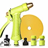 Roscloud@ Car Wash Water Grab Artifact High Pressure Water Hose Hose Nozzle Watering Tool Machine Car Home Brush Car Suit (Color : With 5M hose)